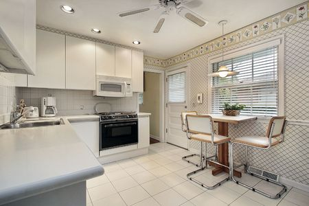 Kitchen in suburban home with white cabinetry Stock Photo - 6740585