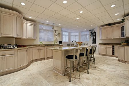 Large kitchen in lower level of luxury home