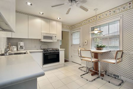 Kitchen in suburban home with white cabinetry Stock Photo - 6739866