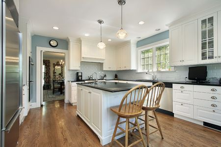 Kitchen in suburban home with white cabinetry Stock Photo - 6739923
