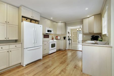 Kitchen in remodeled home with dining room view photo