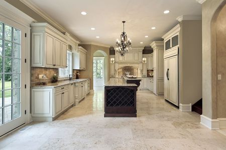 floor tiles: Kitchen in luxury home with double deck island