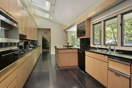 Kitchen in luxury home with black speckled flooring