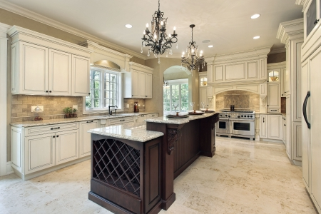 Kitchen in new construction home with double deck island photo