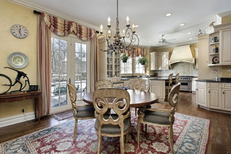 Eating area of kitchen in luxury home photo