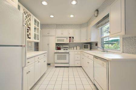 Kitchen in luxury home with white cabinetry photo