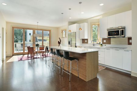 Kitchen in luxury townhome with eating area photo