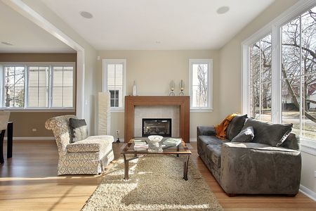 upscale: Living room in upscale home with view into dining area