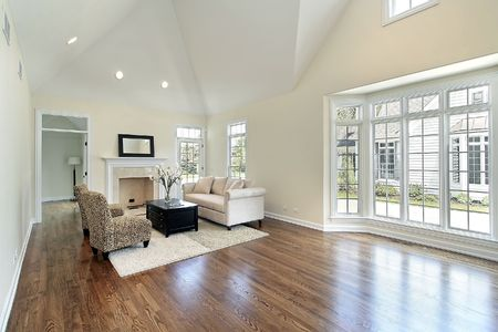 hardwood: Living room in new construction home with picture window