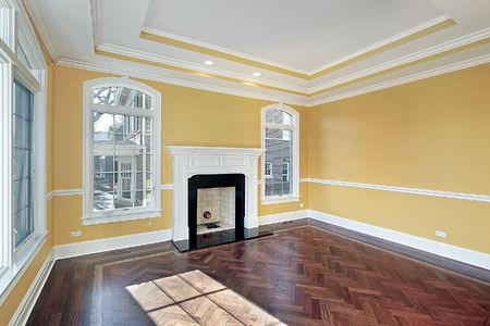 Living room in new construction home with yellow walls photo