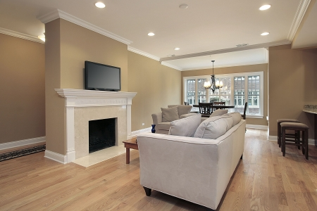 contemporary living room: Living room in luxury condo with fireplace