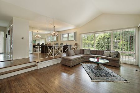 Living and dining room in split level suburban home