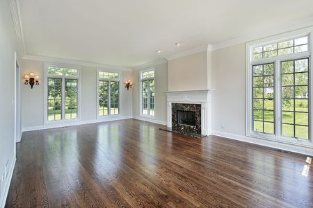 Living room in suburban home with fireplace photo