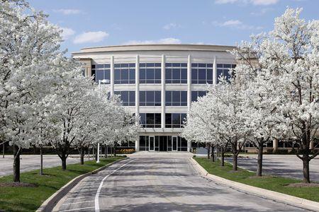 paesaggio industriale: Edificio per uffici con alberi in fiori a primavera