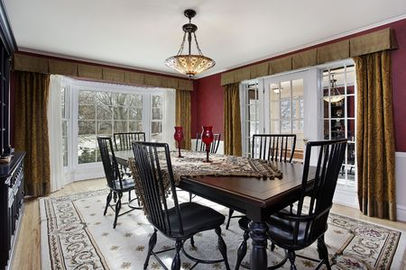 Dining room in luxury home with picture window Stock Photo - 6846771