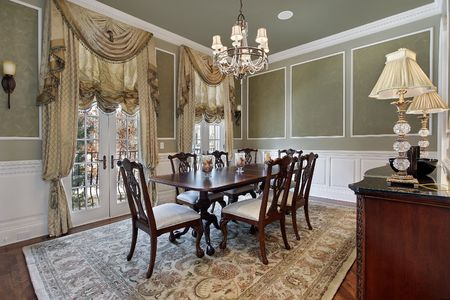 Dining room in luxury home with french doors Stock Photo - 6846761