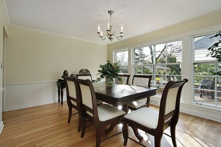 Dining room in remodeled home with patio view photo