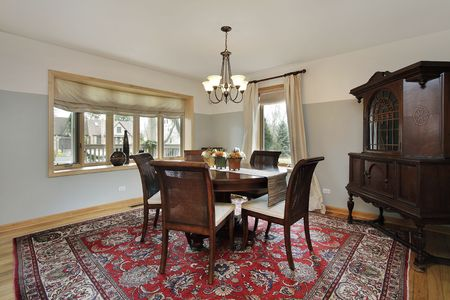 Dining room in suburban home with wood trim windows Stock Photo - 6846770