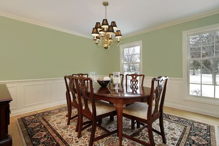Dining room in suburban home with floral carpet Stock Photo - 6846775