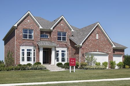 Brick home in suburbs with