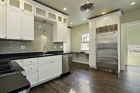 Kitchen in remodeled home with dark wood floors Stock Photo - 7773982