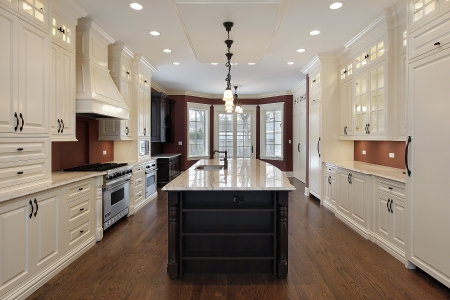 Kitchen in new construction home with large center island Stock Photo - 7773987