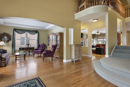 Foyer in upscale home with living room view