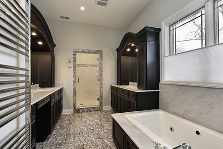 Master bath in new construction home with dark cabinetry Stock Photo - 7750918