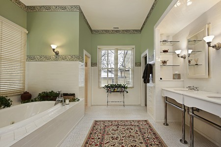master bath: Master bath in luxury home with green walls Stock Photo