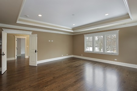 master bedroom: Master bath in new construction home with tray ceiling