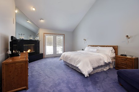 Master bedroom in suburban home with black fireplace Stock Photo - 7750878