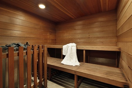 Sauna in luxury home with two wooden decks photo
