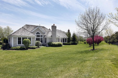 Rear view of suburban home with large back yard photo