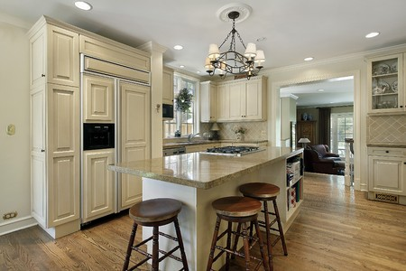 lighting fixtures: Kitchen in luxury home with large center island