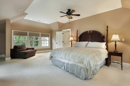 Master bedroom in luxury home with tray ceiling Stock Photo - 7809809
