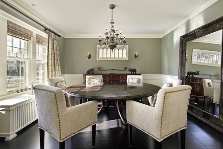 chandeliers: Dining room in luxury home with olive walls
