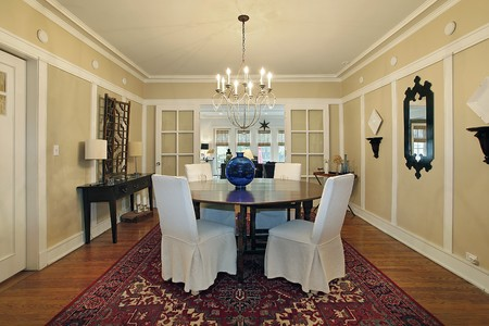 Dining room in luxury home with tan walls photo
