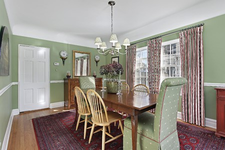 dining room interior: Dining room in suburban home with green walls
