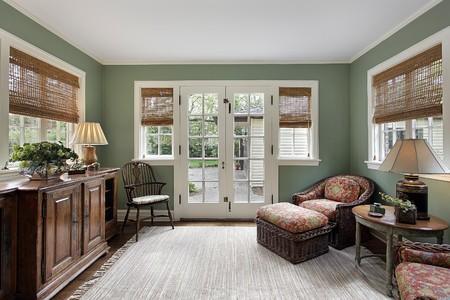 Den in suburban home with doors to patio