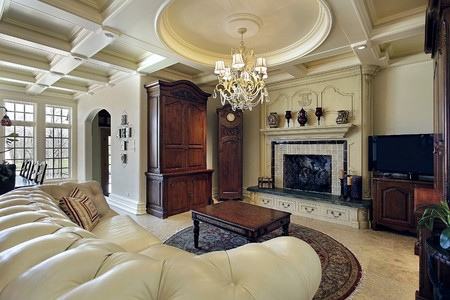 luxury house: Family room in luxury home with fireplace