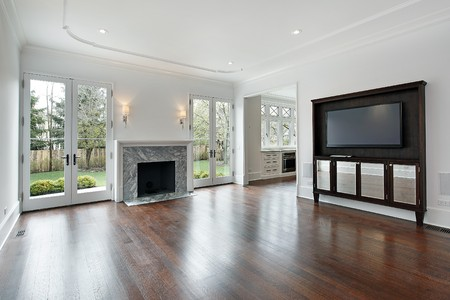 floor lamp: Family room in new construction home with fireplace