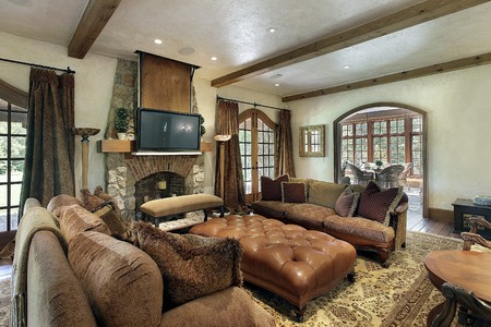 fireplace: Family room in luxury home with fireplace