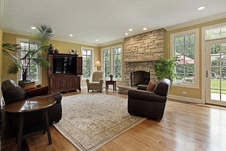 Familia habitación en casa de lujo con chimenea de piedra Foto de archivo - 10292937