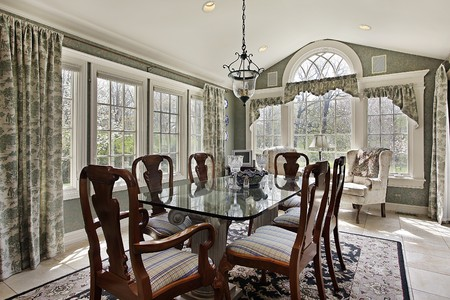Breakfast area in suburban home with wall of windows Stock Photo - 10293067