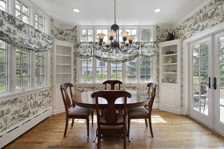Breakfast room in luxury home with walls of windows photo