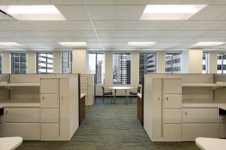 Cubicles and meeting area in a downtown office building photo