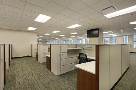 Cubicles and meeting area in a downtown office building