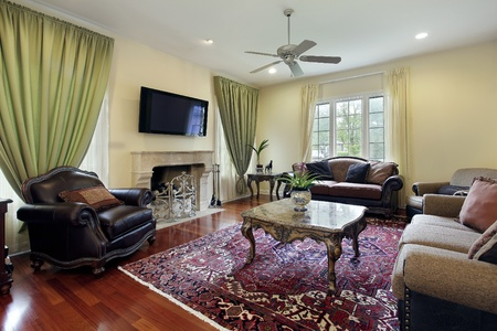 fireplace living room: Family room in luxury home with fireplace
