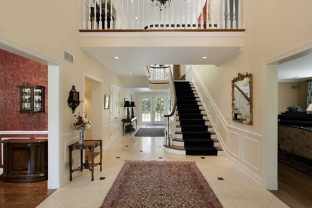 second floor: Large foyer in luxury home with second floor landing