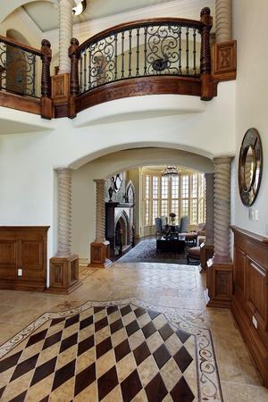 Foyer in luxury home with floor design Stock Photo